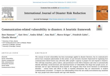 Our new publication is out! Communication-related vulnerability to disasters: A heuristic framework