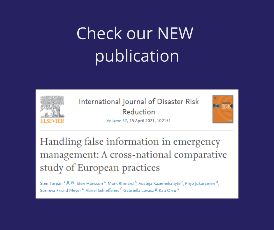 New publication: Handling false information in emergency management: A cross-national comparative study of European practices